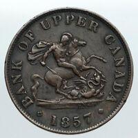 1857 UPPER CANADA Antique UK Queen Victoria HALF PENNY BANK TOKEN Coin i90536