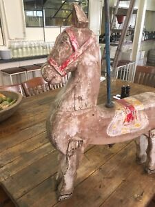 Old Vintage Antique Timber Wooden Carousel Horse Merry Go Round Carnival