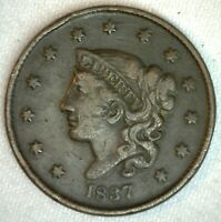 1837 Coronet Head US Large Cent Copper Coin VF Very Fine Grade 1c US Penny Coin