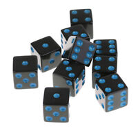 Set of 10 6 Sided Square Opaque D6 16mm Standard Dice Die Black w/ Blue Pips