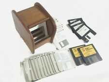 Vtg Floppy Diskettes & Floppy Disk Storage Roll Top Holder Wood Tone Microsoft