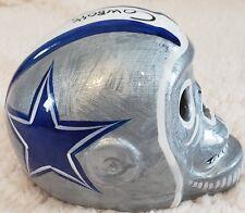 DALLAS COWBOYS Skull Helmet Ceramic Mexican Clay Figure ,Folk Art Silver