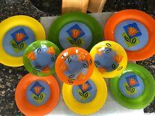 9 piece Set France Arcoroc Matys Orange Tulip - Green Yellow Orange Plate Bowl