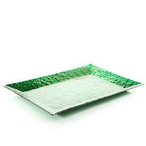 YANKEE CANDLE GREEN RECTANGULAR BUBBLE GLASS CANDLE SCAPING TRAY NIB