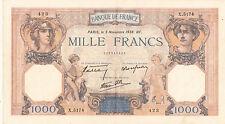Billet banque 1000 Frs CERES ET MERCURE 03-11-1938 HF X.5174 état voir scan