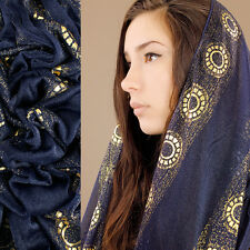 Slinky Blue Gold Circle Sheer Soft Shiny Scarf Scarves Wrap Sexy Women Outwear