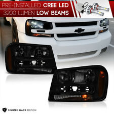 [Pre-Installed LED Low Beam] 2002-2009 Chevy Trailblazer Headlights Lamps Pair