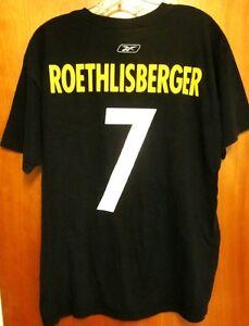 PITTSBURGH STEELERS med T shirt Ben Roethlisberger 7 Reebok tee Super Bowl XLIII