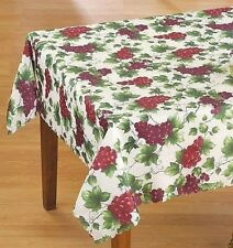 Scalloped Edge Grape Vineyard Fabric Tablecloth 60 x 90 Rectangle Purple Ivory