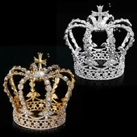 "5"" Vintage Pageant Wedding Bridal Crystal Queen King Cross Headband Crown Tiara"