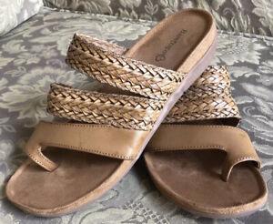 BareTraps JONELLE Chestnut Braided Memory Foam Wedge Sandals Women Sz 7.5 M