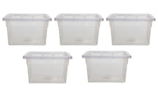 5 x Clear Plastic 22L Stackable Storage Box Boxes & Lid Container Home Office