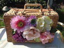 Stunning FLORAL BOUQUET 3D PINK FLOWER Beige wicker PICNIC CASE BAG HANDBAG OOAK