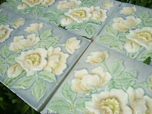 x7 Meissen Ofen Germany antique tiles Art Nouveau Majolica 5 color flowers grey