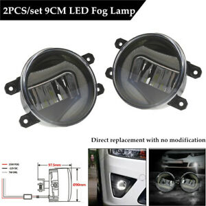 2PCS 9cm Circular LED Fog Lamp Day Running Light Front Bumper Lighting Universal