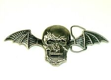 SKULL Belt Buckle Bat Wings Biker goth Rocker Pirate Halloween Vtg 90s