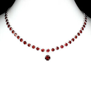 Unheated Round Mozambique Garnet 10mm 925 Sterling Silver Necklace 20 Inches