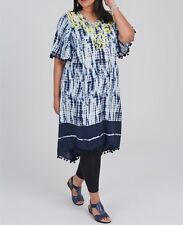 Plus Size Wide Sleeve Blue, Yellow & White Embroidered & Tie Dye Dress  Size 16