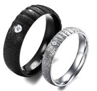 Coppia Fedine Fidanzamento Acciaio Satinate Brillantinate Argento Nero Incisioni
