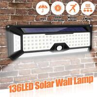 136LED Solar Power PIR Lights Motion Sensor Garden Yard Light Wall Lamp Outdoor