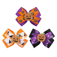 "3 Pcs 4.5"" Glitter Pumpkin Hair Bows with Alligator Clips Halloween Day Bowknot"