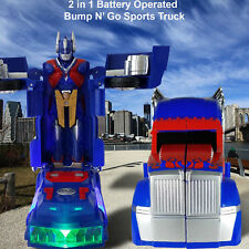 TRANSFORMER BATTERY OPERATED OPTIMUS PRIME Robot Truck Toy LED Sounds Bump & Go