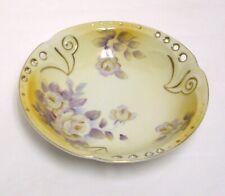 Vintage Round Yellow Bowl Pierced Rim Hand Painted Flowers Gold Trim