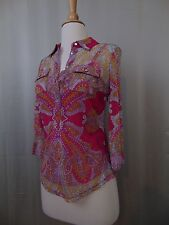 INC International Concepts Petite Button Down Printed Top w/ Cami PP Pink #2083