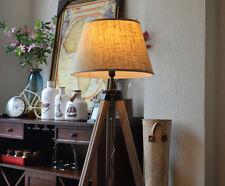 Modern Retro Floor Lamp Wood Tripod Linen Shade Adjustable Height Light