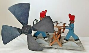 Large Vintage Whirligig Soldiers Sawing and Chopping Wood, 3 Figure Windspinner