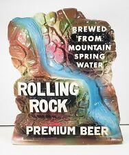 Vtg Rolling Rock Beer Chalkware Advertising Sign Latrobe Brewing Mountain Spring