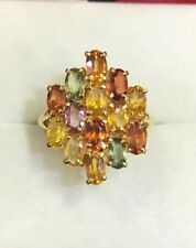 14k Solid Yellow Gold Cluster Ring With Natural Multi Color Oval Sapphire 4.08GM