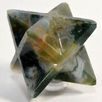 62mm 8 Point Moss Agate Merkaba Star Multicolor Natural Mineral Stone - India