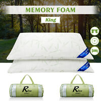 2PCS King Size Original Bamboo Memory Foam Pillow Hypoallergenic w/ Carry Bag