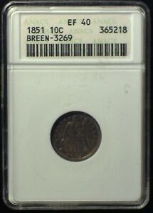 1851 Breen-3269 Doubled Date ANACS XF40 Stars Seated Dime 10c [inv 1882] RARE