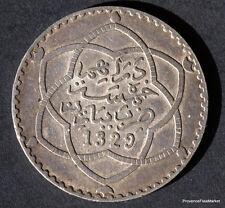 MAROC MOROCCO 1/2 RIAL 5 Dirhams  ARGENT SILVER 1329  1911  mo11