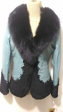 new design 100% real black fox. + very soft  lamb fur  leather coat