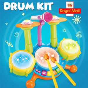 Kids Electronic Drum Kit Play Toy Set Baby Musical Instrument w/ Microphone Gift