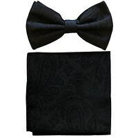 New formal men's pre tied Bow tie & hankie set paisley pattern black wedding