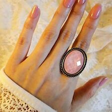 Vintage Baby Pink Big Oval Gem Stone Size Adjustable Ring For Men Women Retro