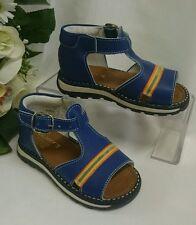 BABY Jungen Kinder Schuhe SANDALEN MADE IN ITALY Gr. 25 Blau Streifen LEDER Neu
