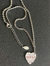 Guess Necklace Pendant Heart Charm Adjustable Pink Stones  Silver Color