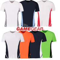 GAMEGEAR MEN'S V-NECK T-SHIRT GYM SPORT FIT DRY WICKING COMFORT TOP CONTRAST NEW