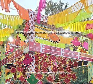 Indian Handmade Mirror Work Gota Patti Pankhi Hand Fan Decorative Wedding Pankhi