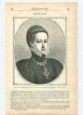 Portrait de Philippine Welser Château d'Ambras Autriche GRAVURE OLD PRINT 1878