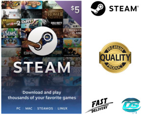 $5 Steam Prepaid Card - 5 USD Dollar US Steam Wallet - Key Code (USA)