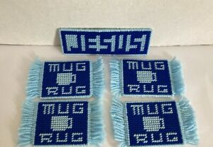 Four Yarn Plastic Canvas Mug Rug Coasters & Small Jesus Sign Two Shades Of Blue