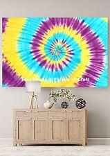 Spiral Tie Dye Indian Modern Art Cotton Wall Hanging Tapestry Handmade Poster