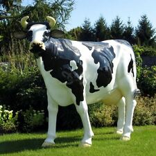 DEKO KUH ZENZI lebensgroß glatt schwarz weiß Garten Figur GFK WERBUNG BAUERNHOF