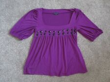 Ladies Debenhams Betty Jackson purple beaded short sleeve loose fit top size 12